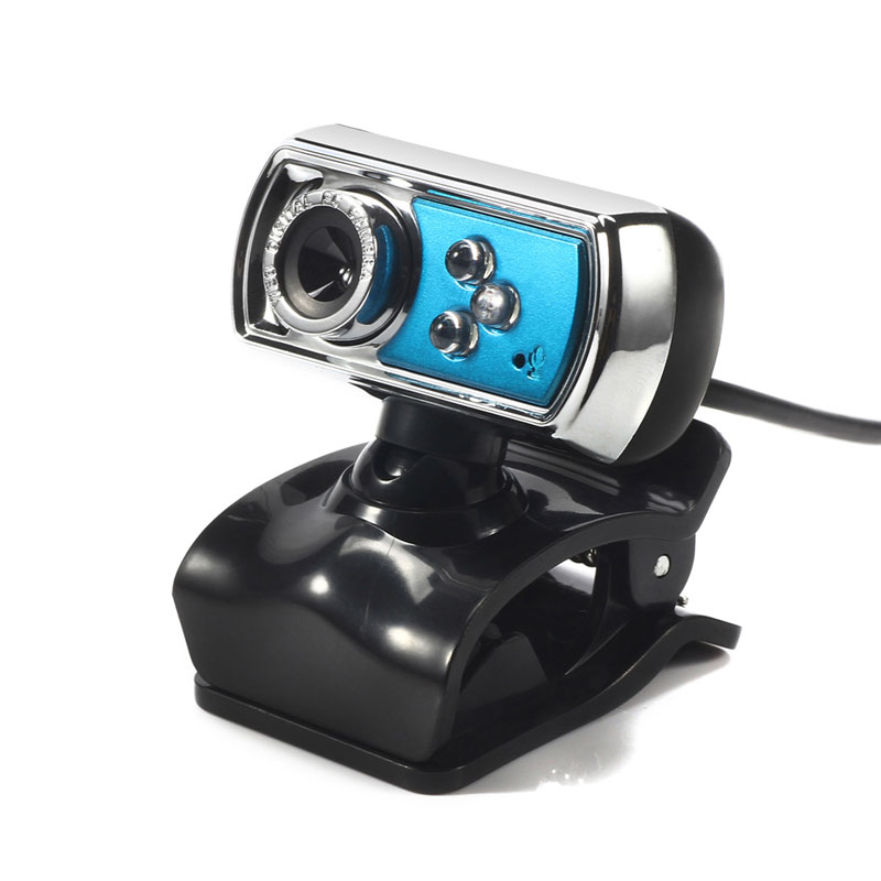 High Quality HD 12.0 MP 3 LED USB Webcam Camera with Mic & Night Vision for PC Blue Free Shipping(China (Mainland))