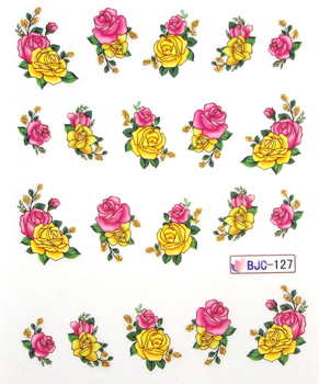 11 Designs Flower & Butterfly Nail Art Decals Wrap Stickers Water Transfer False With Gold Bling Shipping