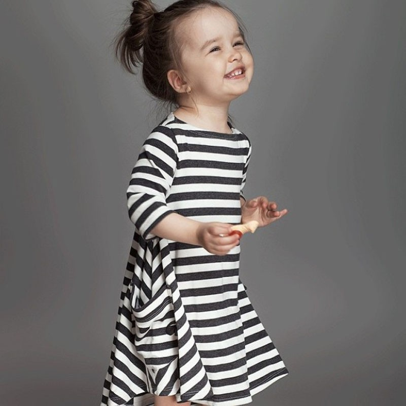 Autumn Girl Dresses Classic Striped Loose Cotton Kids Clothes Fashion Girls Clothing Baby Casual Dress For Girls(China (Mainland))