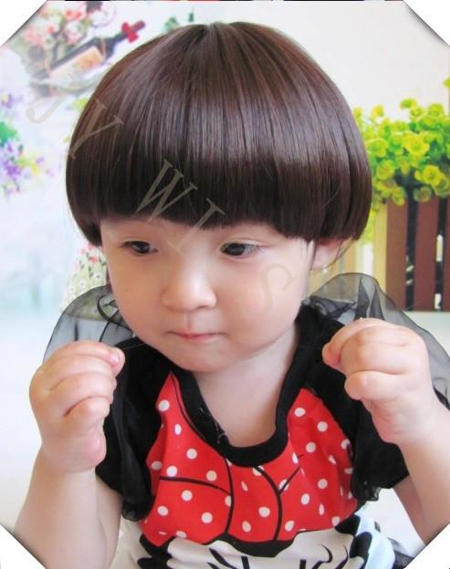 Black Kid Wig Children Short Straight Bob Cute Fringe Dark Brown Cosplay Wig Hair Black Kid Wig(China (Mainland))