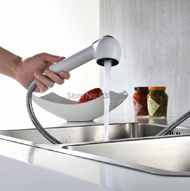 White pull out kitchen sink faucet single handle single - White kitchen sink faucets ...
