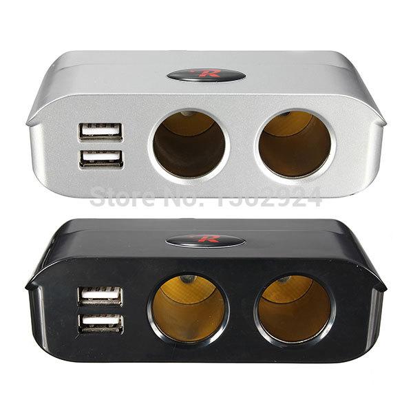 High Quality 180W 12V/24V Silver Black 2 Way Cigarette Lighter Socket Splitter + Dual USB Port Car Adapter(China (Mainland))