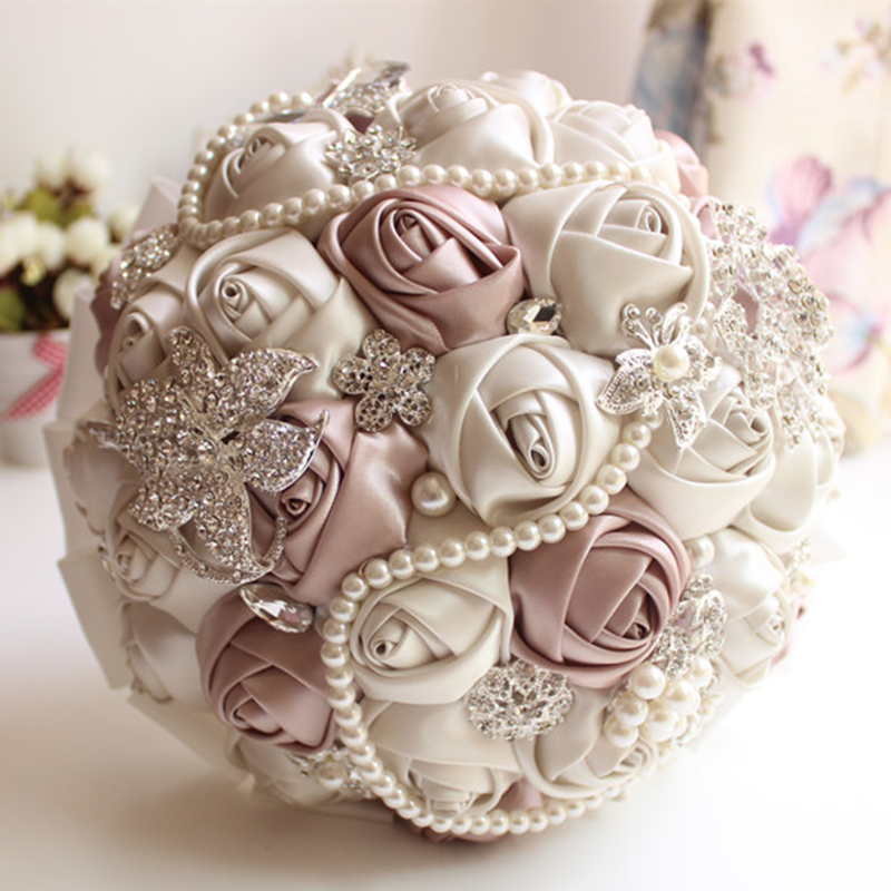 Express ship Bridal Bouquets Wedding flower Gorgeous Beaded Crystal Artificial Sapphire Ivory Rose Bridesmaid Pearlfast arrive(China (Mainland))