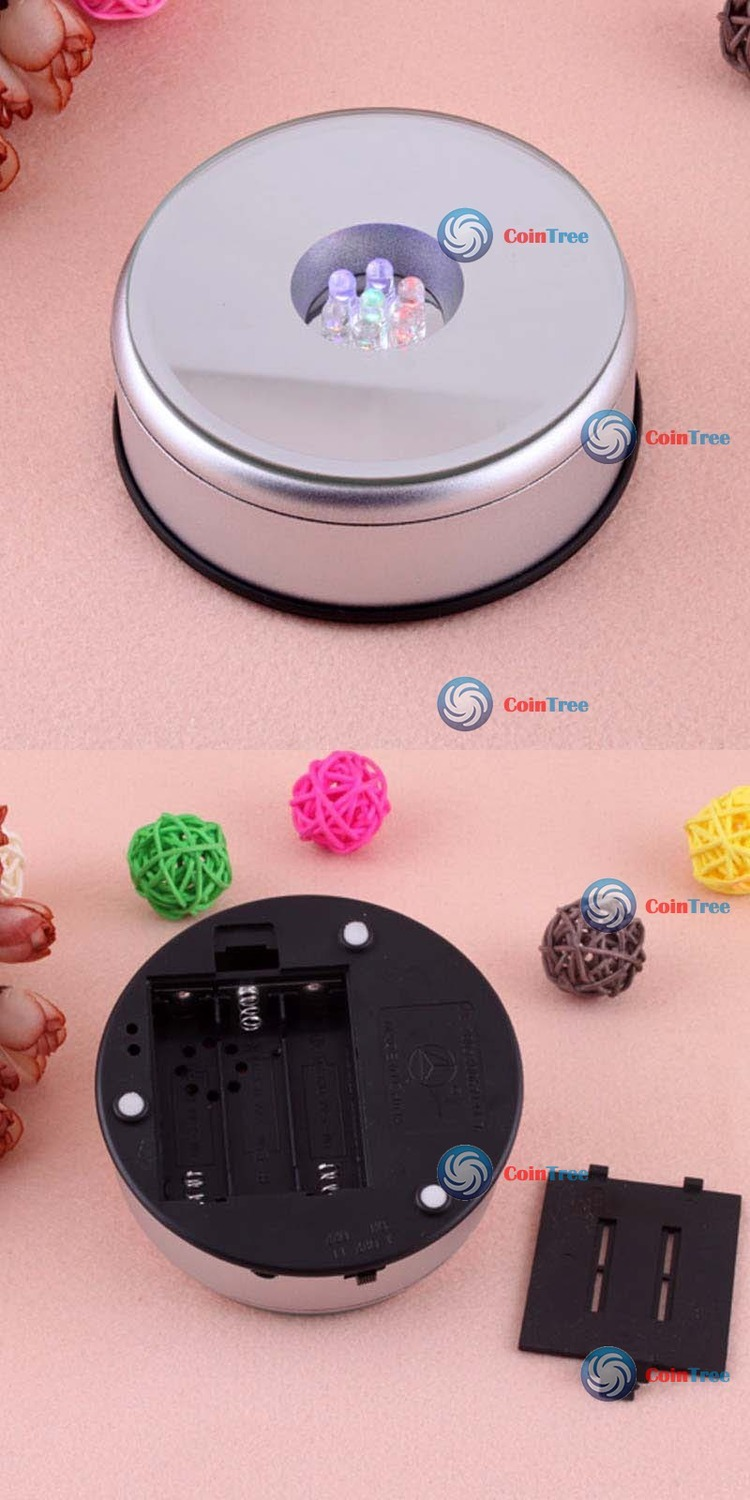 ChicGirl Unique Small Round Rotating Crystal Display Base Stand Holder 5 LED Light #2 New(China (Mainland))