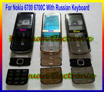 100% Brand New HOUSING COVER CASE +KEYPAD FOR NOKIA 6700c 6700 With Logo free shipping English and Russia Keyboard Available