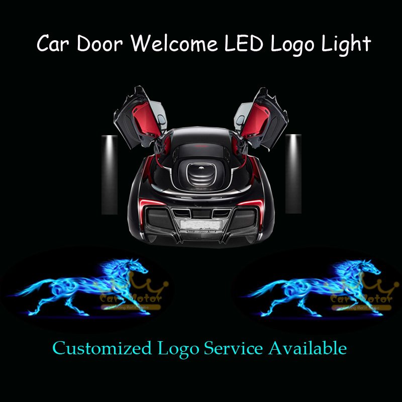 2x 3D Blue Flaming Horse Logo Car Door Welcome Courtesy Laser Projector Ghost Shadow Puddle CREE LED Light for Ford Mustang 1006(China (Mainland))