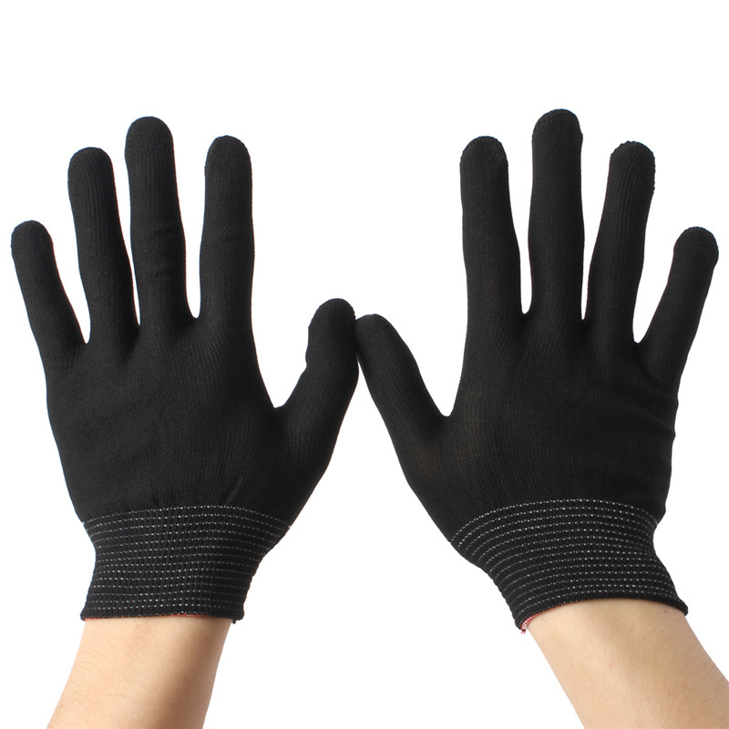 2Pairs Nylon Black Antistatic Work Gloves Knit Working Gardening Lumbering Hand Safety Security Protector Grip White(China (Mainland))