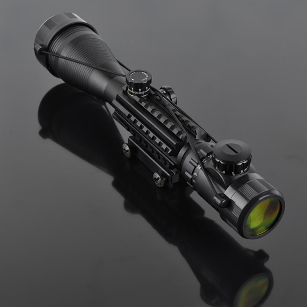 New Hunting Riflescope 4-16x50 Red Green Illuminated Reticle Laser Scope Sniper Scope Fit For 11MM 22MM Shotgun(China (Mainland))