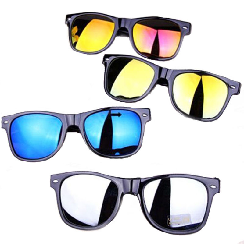 2015 New fashion reflective glasses round Black Frame men women sun glasses sunglasses 5 colors Free shipping D(China (Mainland))