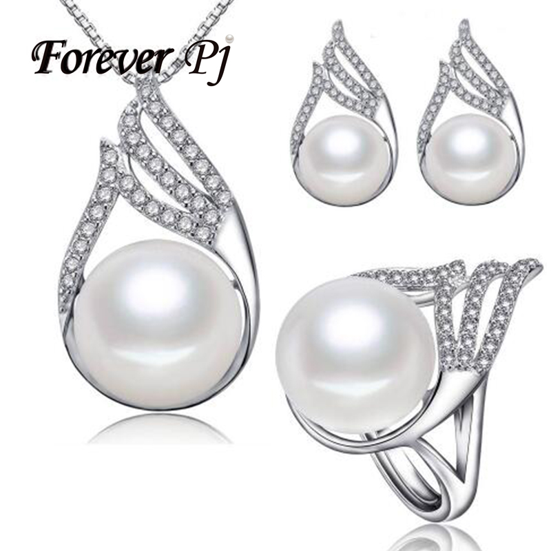 Fashion Rocket Necklace/Earring/Ring Pearl Jewelry Set For Natural Freshwater Pearl Jewelry Sets For Women 925 Silver Necklace(China (Mainland))