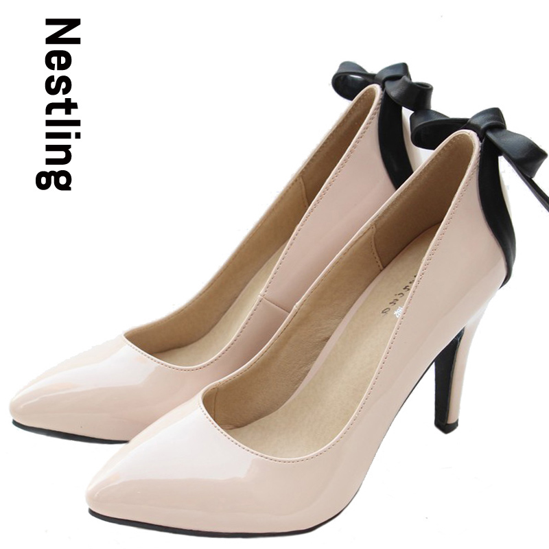 New 2015 fashion sheepskin bowtie women pumps sexy pointed toe high heels patent leather women party wedding shoes woman D45<br><br>Aliexpress