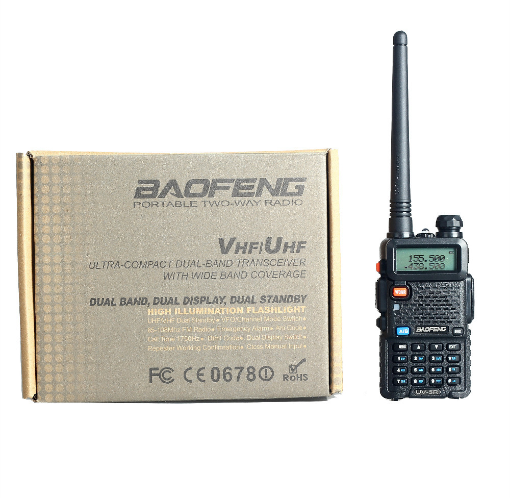 Baofeng UV-5R Walkie Talkie 5W Dual Band Two Way Radio 128CH UHF VHF FM VOX Pofung UV5R ham radio Dual Display free headset(China (Mainland))