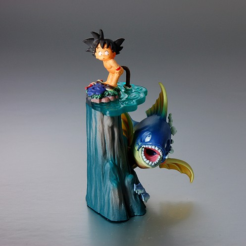 Japan Genuine Version Dragon Ball Scenes toy GT (Juvenile Goku fishing with its tail) first edition doll models(China (Mainland))