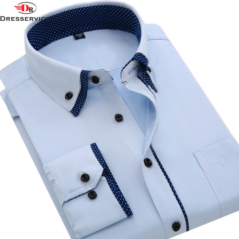 2016 Double Collar Mens Long-leeve Dress Shirts Solid Business Men Casual Shirt Spring Summer Men's top Free Shipping Male(China (Mainland))