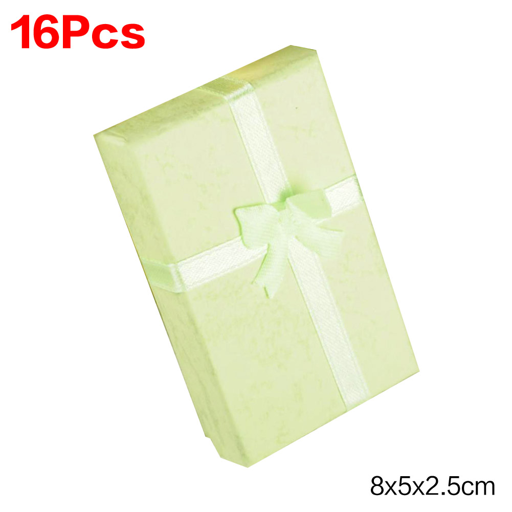 16pcs/lot 8*5*2.5cm jewelry earring bracelet ring gift box green square carton bow case package ES4570(China (Mainland))