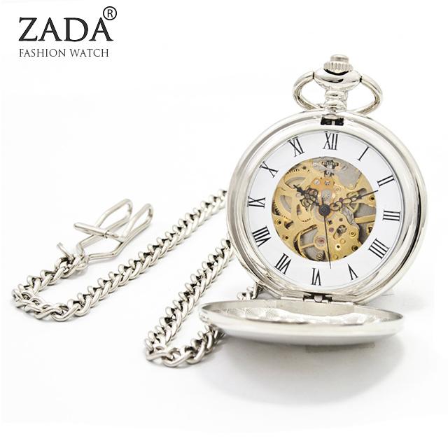 Fashion Silver Steel Steampunk Mechanical Pocket Watch Men Women Necklace Clock GIFT FOB Vintage Skeleton Pocket Watch PJX904(China (Mainland))