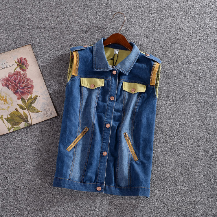 2015 Autumn Patchwork Denim women's vest Girls Epaulet Zipper Plus Size Vests Female Sleeveless Waistcoat Tops Women Clothing(China (Mainland))