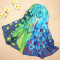 Ladies Scarves 2015 Floral Chiffon Scarf Autumn Winter Long Scarf Canada Beach Silk Shawls Womens Scarfs