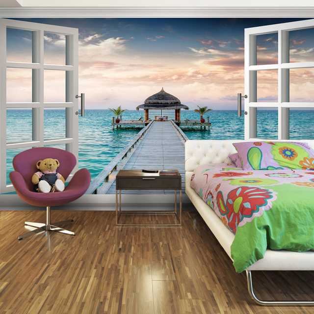 Large mural wallpaper 3d wallpaper for bedroom dining room for Modern 3d wallpaper for bedroom