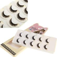 New 5Pairs/Set False Eyelashes Natural Pure Handmade Voluminous Thick Long Fake Eyelashes Makeup Individual Mink Eyelashes(China (Mainland))