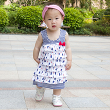 Children Girl Dresses Sailor Decoration Lotita Vest Style Tiered Baby Girl Summer Clothes For Birthday Party(China (Mainland))