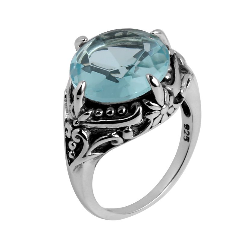 In 2015 the new female money 925 silver jewelry series ancient silver aquamarine ring gift<br><br>Aliexpress