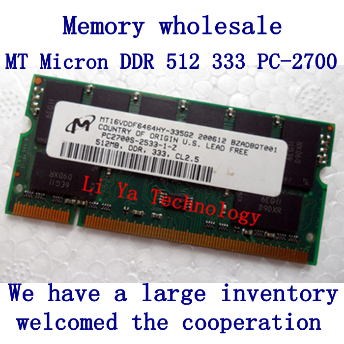30 pieces / lot  Micron MT CRUCIAL  The original DDR333 512M PC2700 notebook memory SODIMM computer RAM<br><br>Aliexpress