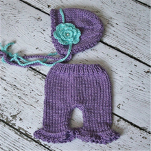 2016 New Design Baby Newborn Photography Props Handmade Knit Crochet Costume purple Hat And Pants For 0 to 3 Months Girl Boy(China (Mainland))