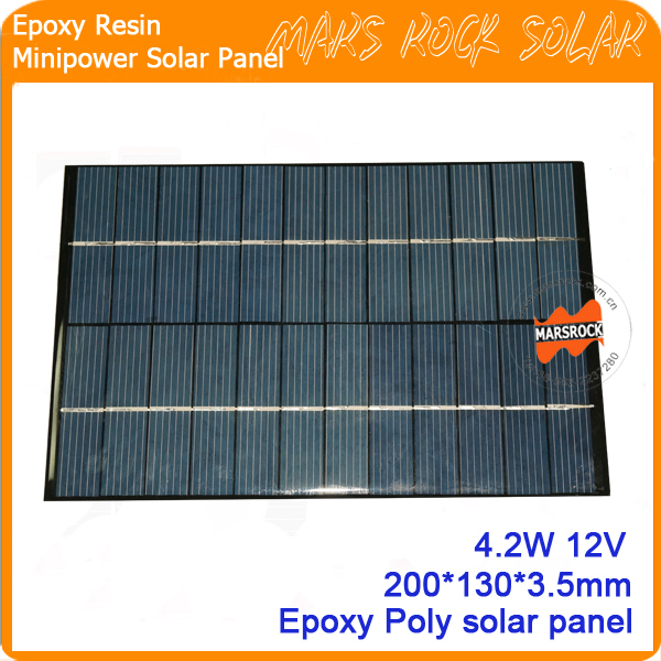 4.2W 12V 200*130mm PoLycrystalline Epoxy Resin Small Solar Panel for Toy, Garden Light, Charger<br><br>Aliexpress