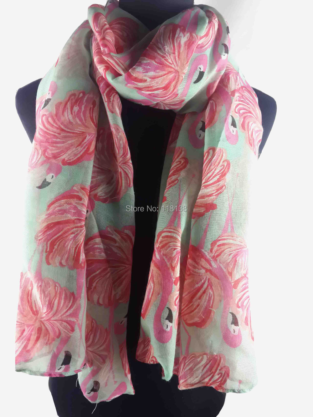 Flamingo Print Women's Scarf Wrap Shawl Hijab Women's Accessories Gift Thanksgiving Day, Free Shipping(China (Mainland))