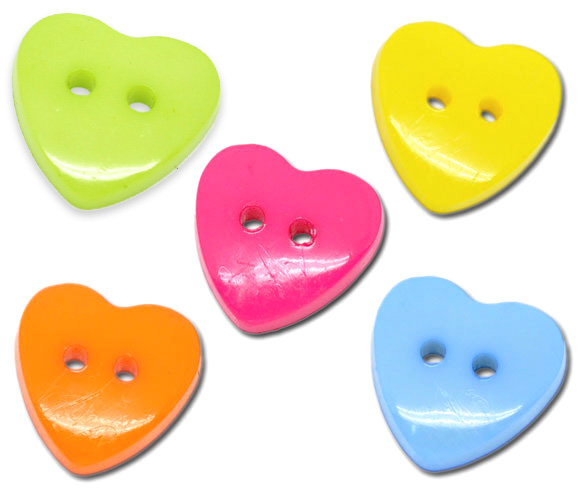 Free Shipping 100 Mixed Heart Acrylic Sewing Buttons Scrapbooking Clothes Accessories(China (Mainland))