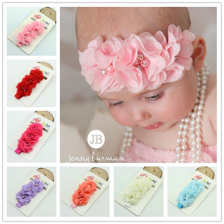 baby headband chiffon pearl diamond flower with a shimmer Headbands toddler Flower Headbands children hair accessories(China (Mainland))