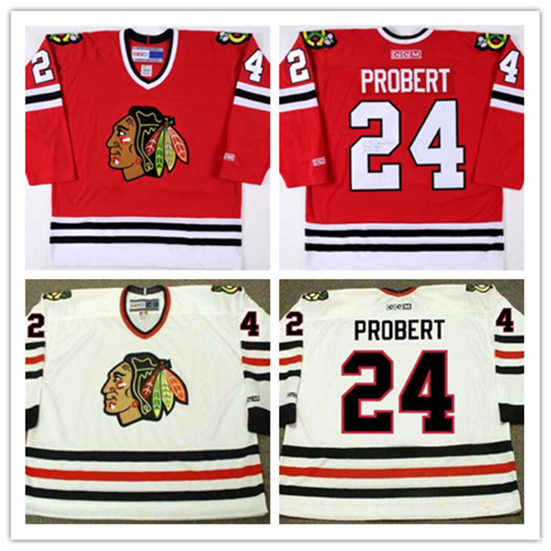 Men's cheap Chicago Blackhawks 1996-97 Throwback VINTAGE Jerseys Away White #24 Bob Probert Home Red ICE hockey Jersey
