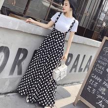 Летняя мода с открытой спиной в горошек печати ремень шифон широкие брюки женские комбинезоны Vestidos(China)