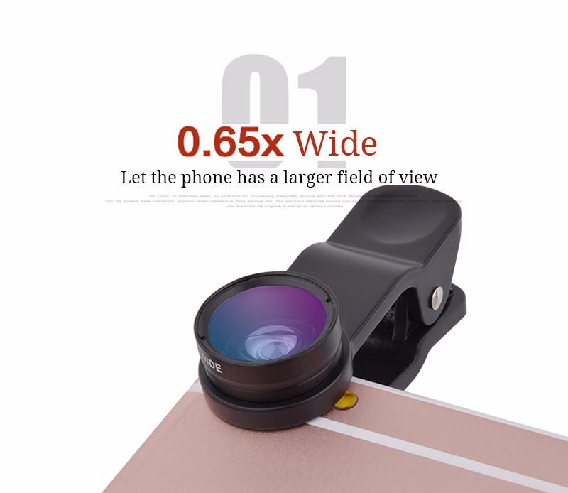 Universal Fish eye lens 3 in 1 Wide Angle Macro Fisheye lens Cell Phone Lens for Smartphone Mobile Phone Camera fish eye Lens