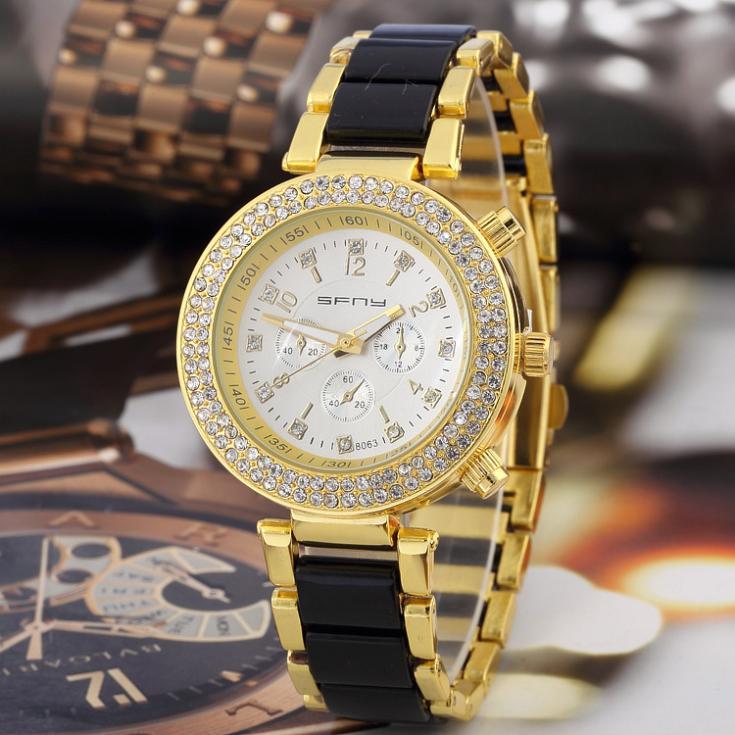 Women's Rhinestone Watches Shiny Dress Watches Full Steel watch Quartz ladies Analog watches Crystal Time Show SF03(China (Mainland))