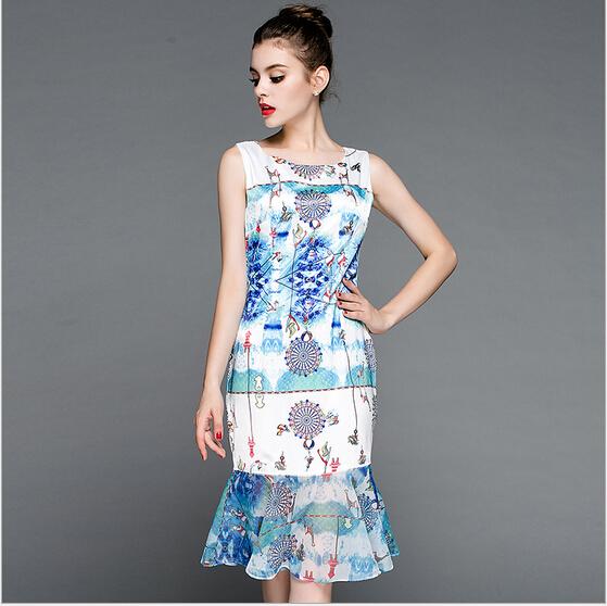 Summer vestido de festa longo 2015 elegant sleeveless slim women floral dressorganza mermaid vintage boho dress