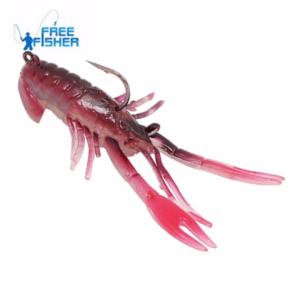Free Fisher Brand 10 pcs/set Crawfish Lobster Soft Bait Fishing Lure Crayfish Jig Pesca Fishing Lure 7.5cm/2.95in 10.5g/0.37oz(China (Mainland))