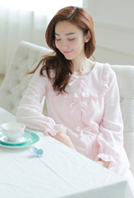 free shipping 2015 M309 New arrival Prinsty ruffle bow polar fleece high quality lounge robe(China (Mainland))