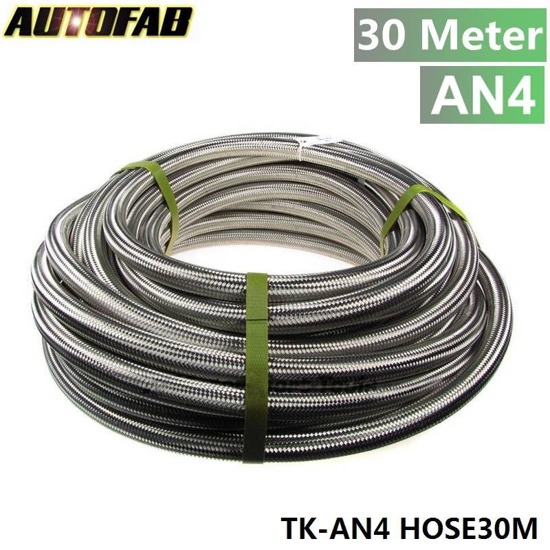 AUTOFAB - Stainless Steel Braided 30meter -4AN AN4 4-AN Oil/Fuel/Gas Line/Hose 1000Psi TK-AN4 HOSE30M(China (Mainland))