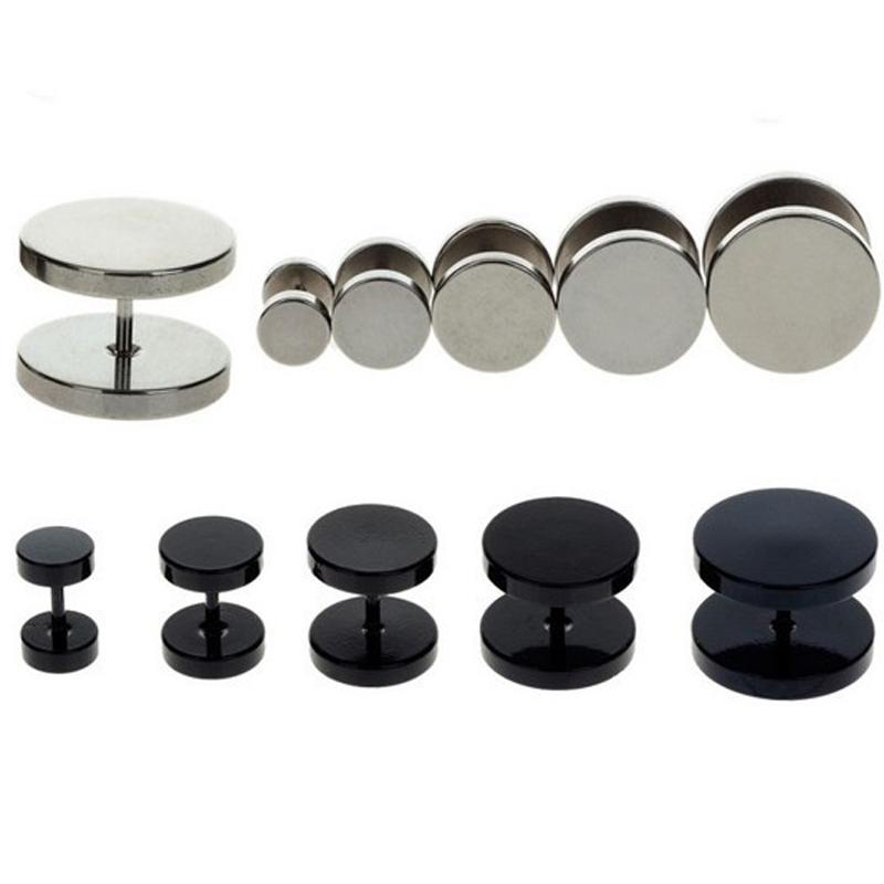 2pc Black Sliver Stainless Steel Fake Cheater Ear Plugs Gauge Body Jewelry Pierceing 6-14mm - Li juan Jewelry---((No Minimium store)