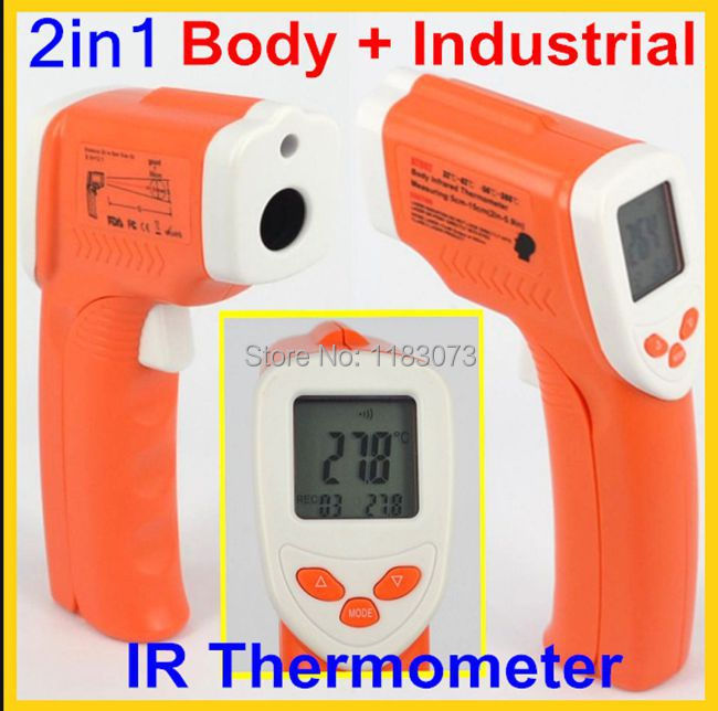 2 in 1 Digital Non-Contact IR Laser Gun Infrared Thermometer -50 to 380 Degree Industrial and Body Forehead Temperature DT802<br><br>Aliexpress