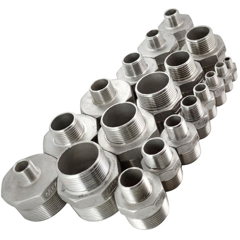 """1 PC New 1/2""""x1/4"""" Male Hex Nipple Threaded Reducer Pipe Fitting Stainless Steel 304 NPT SA534 P50(China (Mainland))"""