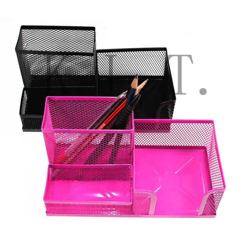 1Pcs NEW Mesh Cube Metal Multifunctional Pen Holder Stand Combination Organizer Card Storage Office Accessories Pen Container(China (Mainland))