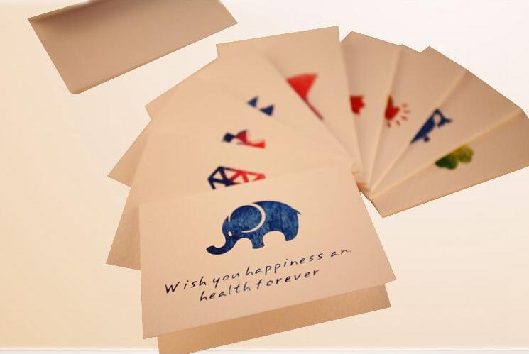 Creative Fashion Vintage colourful animal greeting card/wholesale/Free shipping(China (Mainland))