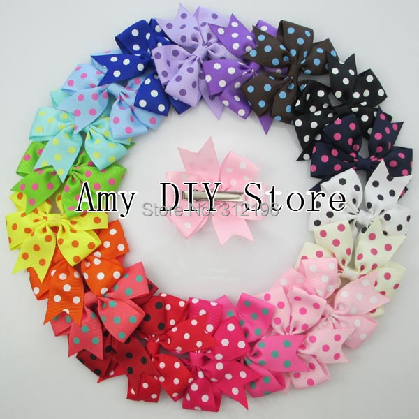 Free Shipping! 40pcs/lot 20Colors Polka Dot Ribbon Hair Bows WITH Clip, Children Boutique Hairbows Baby Girls Hair Accessorise(China (Mainland))