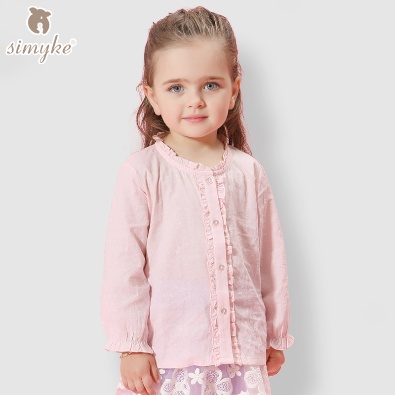 New arrival 2016 autumn baby girl knitted cotton blouses kids long sleeve solid shirts(China (Mainland))