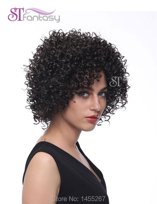 Free Shipping Natural Short African Afro Curl парик for Black Women +FREE WIG CAP & 2 CLIPS
