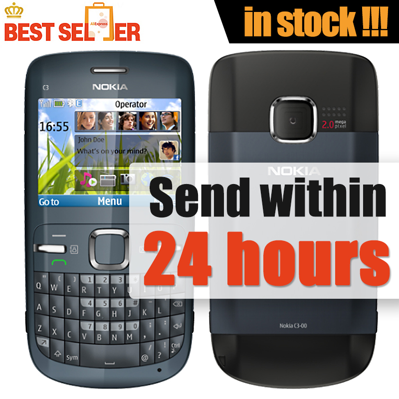 Original mobile phone NOKIA C3-00 Qwerty WIFI 2MP Bluetooth Jave Unlock Cell Phone Free Shipping(China (Mainland))