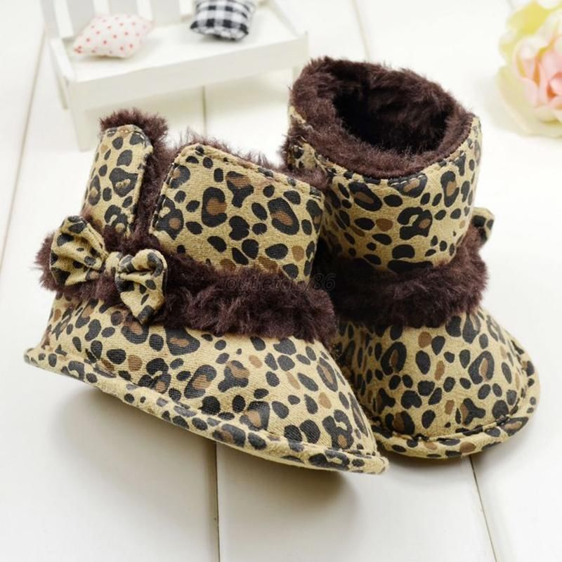 The Best Price For Babys Girl's Infant Xmas Gift BowKnot Leopard Velcro Snow Boots Crib Shoes 3-12M(China (Mainland))